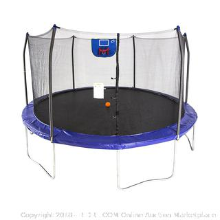 Skywalker Trampolines 15-Feet Jump N' Dunk Trampoline with Safety Enclosure and Basketball Hoop RETAIL: $329.99