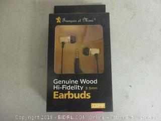 genuine wood hi-fidelity earbuds