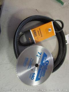 circular saw blade and serpentine belt