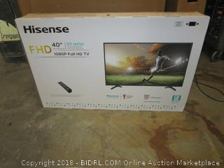 "Hisense 40"" Full HD TV Powers On, Like New"