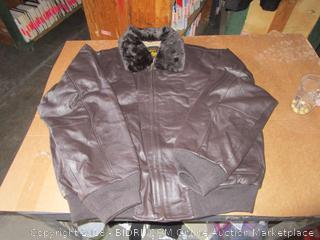 Navy Landing  Leather Jacket XXL