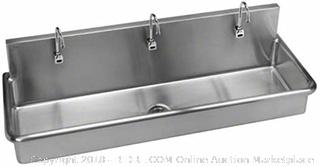 Just J-7220-S Three Station 14ga T-304 Stainless Steel Sensor Operated Surgeons Wash Up Sink