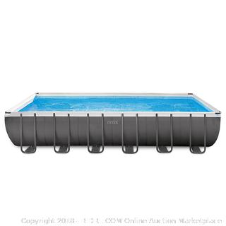 Intex 24ft X 12ft X 52in Ultra Frame Rectangular Pool Set with Sand Filter Pump & Saltwater System, Ladder, Ground Cloth, Pool Cover, Maintenance Kit & Volleyball RETAIL:$1,199.99