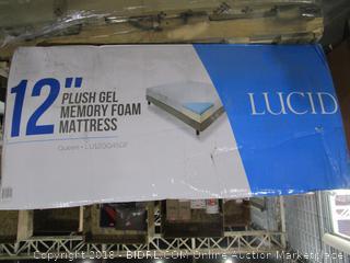 """Lucid 12"""" Plush Gel Memory Foam Mattress Queen"""