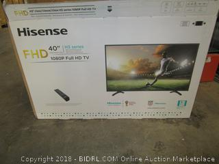 "HisenseFHD 40"" Full HD TV Cracked Screen, Powers on  See Pictures"