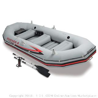 Intex Mariner 4, 4-Person Inflatable Boat Set with Aluminum Oars and High Output Air Pump (Latest Model) (Retail $206.00)