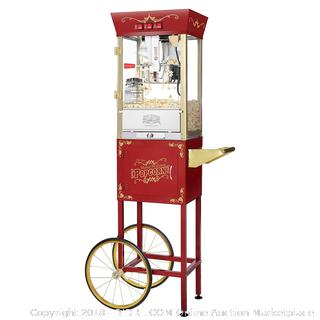 Great Northern Popcorn Red Matinee Movie 8 oz. Ounce Antique Popcorn Machine and Cart (Retail $214.00)