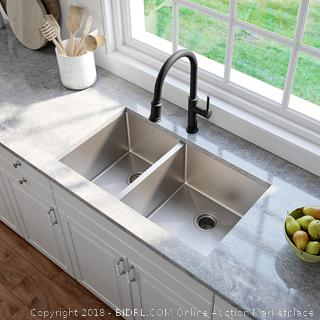 KRAUS Standart PRO 33-inch 16 Gauge Undermount 60/40 Double Bowl Stainless Steel Kitchen Sink, KHU104-33 (Retail $299.00)