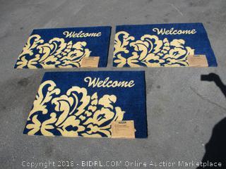 Blue Welcome Vinyl Backed Coir Doormat