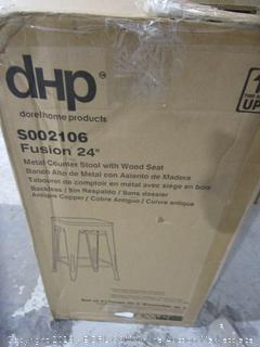 "dHp Fusion 24"" Metal Stool with Wood Seat"