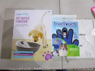 Pet Water Fountain and Five Finger deshedder