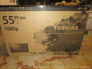 "Toshiba 55"" Powers on, damage, No Cords, No Remote"