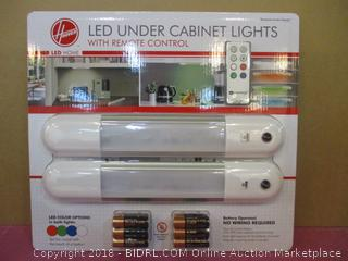 Hoover LED Under Cabinet Lights with Remote Control / LED Color Options Factory Sealed