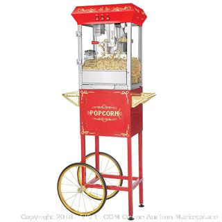 Great Northern Popcorn 6097 8 OZ Foundation Red Full Antique Style Popcorn Popper Machine Complete with Cart and 8-Ounce Kettle (Retail $199.00)