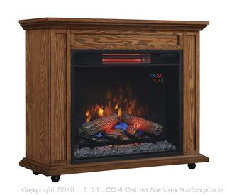 ClassicFlame 23IRM1500-O107 Rolling Mantel with Infrared Quartz Fireplace, Premium Oak (Retail $252.00)