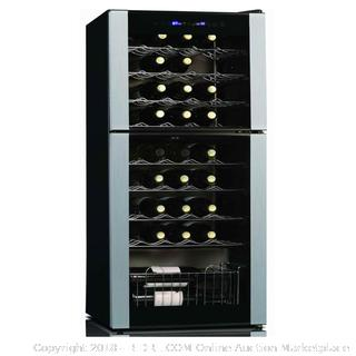 Koolatron WC45 45 Bottle Dual Zone Wine Cellar, Black/Silver (Retail $599.00) - Fridge Only