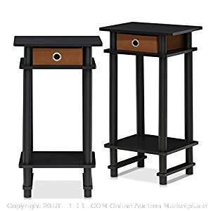 Furinno Turn-N-Tube End Table, Espresso - New -(Online $41)