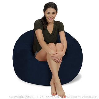 Chill Sack Bean Bag Chair: Large 3' Memory Foam Furniture Bean Bag - Navy Micro Suede - New (Online $95)