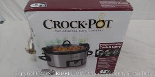 Crock-Pot 6-Quart Programmable Cook & Carry Slow Cooker with Digital Timer, Stainless Steel (Retail $40)