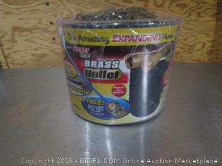 Brass Bullet Pocket Hose w/ Removable Brass Stream Spray Nozzle
