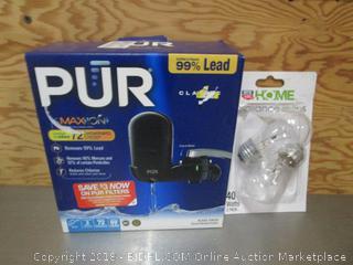 Pur Faucet Water Filter & 2 Pack 40 Watt Appliance Bulbs