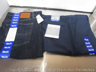 Mens Lucky Brand 221 36x34 & Greg Norman Pants 36x36