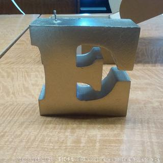 Candle Letter E Brass