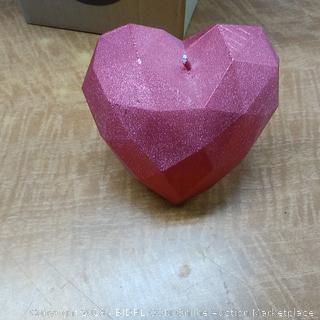 Candle Heart Low Poly Red Metallic