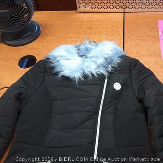 Moto Jacket W/Blue Faux Fur  Size Med 10/12