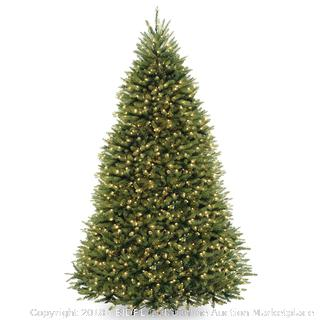 National Tree 9 Foot Dunhill Fir Tree with 900 Clear Lights, Hinged (DUH-90LO) (Retail $305.00)