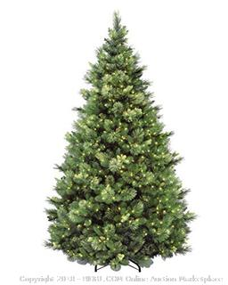 National Tree 7.5 Foot Carolina Pine Tree with Flocked Cones and 750 Clear Lights, Hinged (CAP3-306-75) (Retail $293.00)