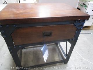 Steel & Wood Side Table with Drawer