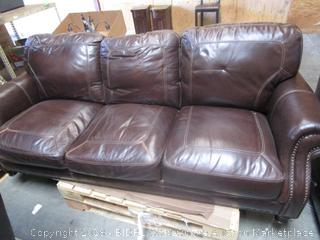 Brown Leather Couch & Living Chair Set