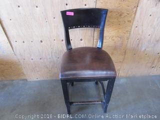 Brown Leather Wood Chair