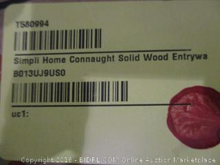 Simpli Home Connaught Solid Wood Entryway Storage Cabinet, Dark Chestnut Brown (Retail $287.00)
