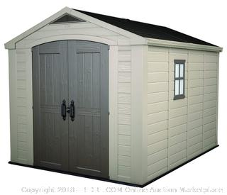 Keter Factor Large 8 x 11 ft. Resin Outdoor Yard Garden Storage Shed, Taupe/Brown (Retail $1,499.00)
