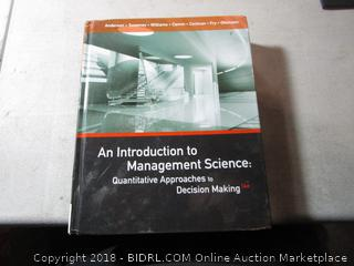 An Introduction to Management Science: Quanitative Approaches to Decision Making