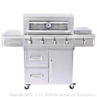 3 Embers 4-Burner Dual Fuel Propane Gas Grill with Radiant Embers Cooking System (Retail $822.00)