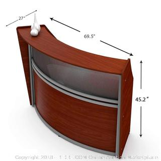 Linea Italia Curved Reception Desk Cherry A ZUC310 (retail $1,179) - only one box