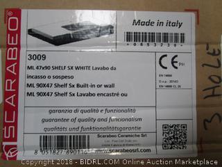 Scarabeo 3009 Three-Hole ML Rectangular Ceramic Self Rimming/Wall Mounted Bathroom Sink White (retail $322)