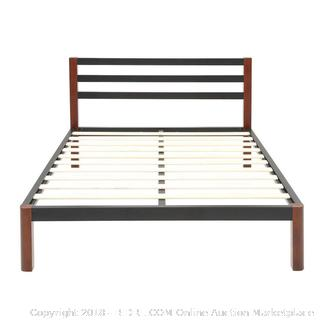 DeCoro Tilbury Wood Slat and Metal Platform Bed Frame /  Mattress Foundation Full Size (retail $194)