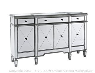 Powell Company Mirrored 4-Door 3-Drawer Console 60x14x36 (retail $490)