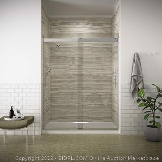 "KOHLER Levity Bypass 1/4"" Shower Door with Handle Clear Glass / Bright Silver (retail $595)"
