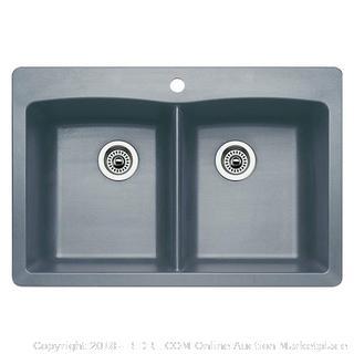 Blanco 440219 Diamond Equal Double Bowl Kitchen Sink Metallic Gray (retail $310)