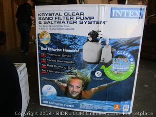 Intex Krystal Clear 2150 GPH Sand Filter Pump & Saltwater System for Pools (retail $293)