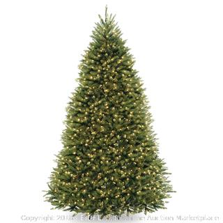 National Tree 10 Foot Dunhill Fir Tree with 1200 Dual LED Lights and 9 Function Footswitch, Hinged (DUH-330LD-10S) (Retail $1,050.00)