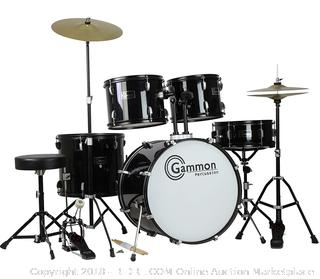 Gammon Percussion Full Size Complete Adult 5 Piece Drum Set, Black (Retail $259.00)