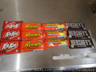 candy- kitkat, reese, reese crispy chunchy, and hershey