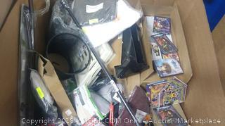 Pallet of Misc Items (iPhone 10 Cases, DVDs, Folders, Guitar Straps, Wastebaskets, Blinds, etc)