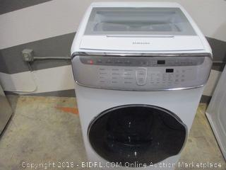 Samsung Smart Home Front Load Washer Powers On, dented, scratched See Pictures